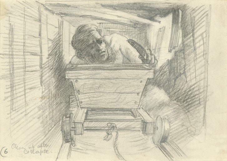 A prisoner repairs a section of the tunnel where the bedboard walls and ceilings have collapsed. Sketch by Ley Kenyon, c.1944 (© Royal Air F