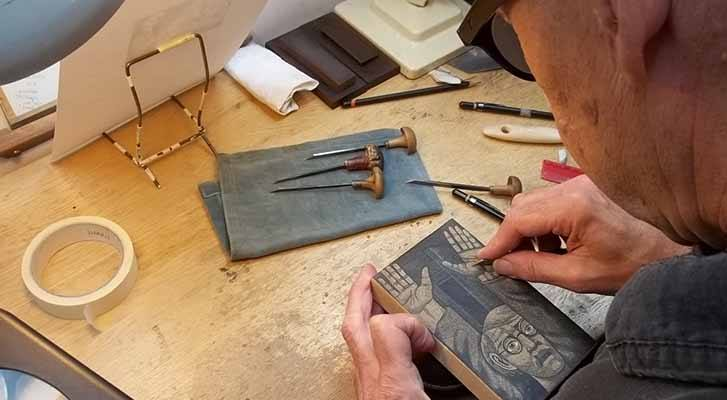 Harry Brockway creating an engraving block for Maigret