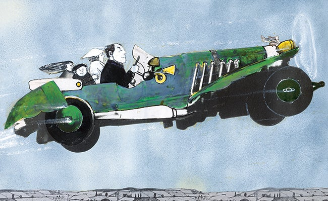 An illustration by John Burningham for Chitty Chitty Bang Bang