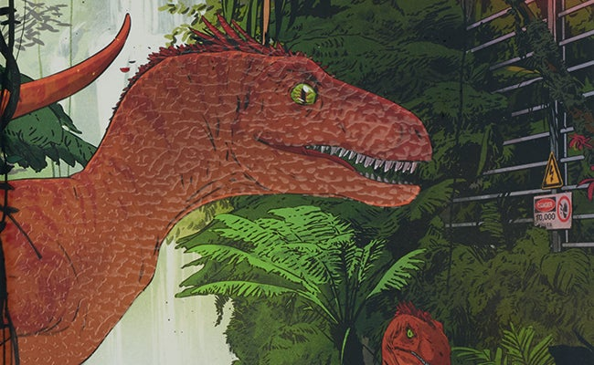 Velociraptor illustration by Vector That Fox for the cover of Jurassic Park, The Folio Society 2020