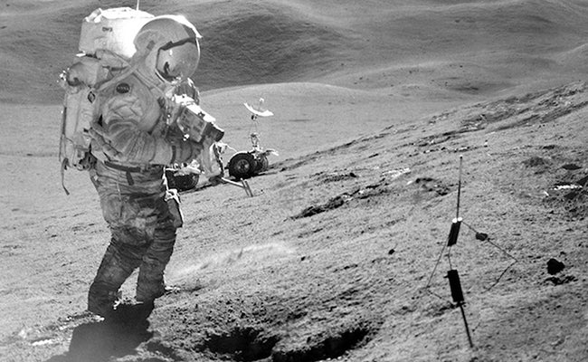 Astronaut Dave Scott working at Hadley Delta on the Moon