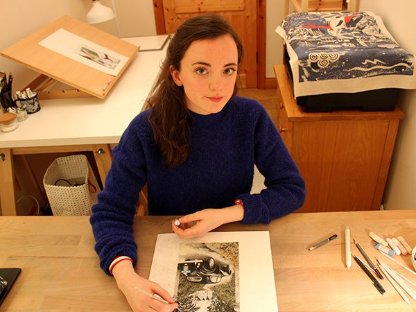 Artist Sally Dunne working on Crooked House for The Folio Society