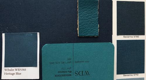 Various samples of blue cloth, leather and paper for book production