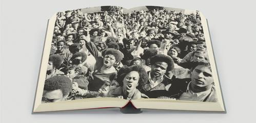 Double page photograph in The Folio Society edition of Mystery Train by Greil Marcus