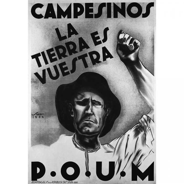 'Campesino, La Tierra es Vuestra'. Poster designed by Siwe for the POUM, 1936. (Photoasia.com)