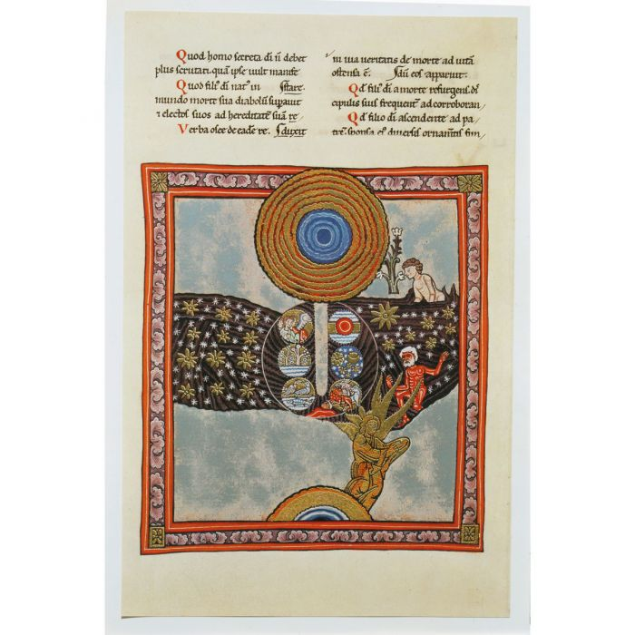 Creation, Fall and Redemption. Illumination from a facsimile of the Rupertsberg Scivias Codex by Hildega rd of Bingen, c.1160. (akg-images)