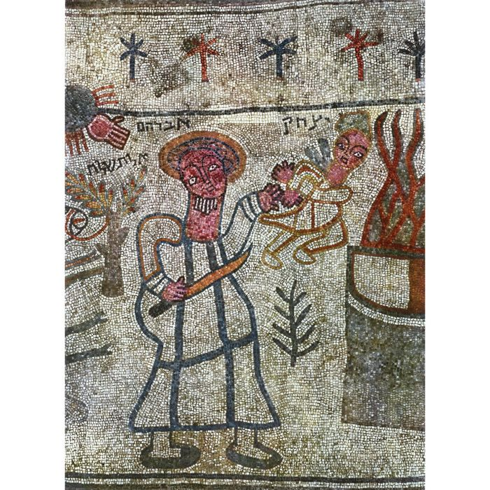 The binding of Isaac. Mosaic (detail) by Marianos and his son Hanina, Beth Alpha Synagogue, Israel, 518– 527 CE. (akg-images)