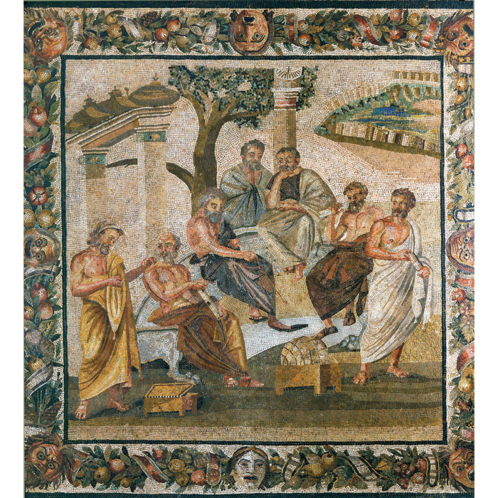 Philosophers. Mosaic (detail) from Pompeii, first century CE. (Erich Lessing/akg-images)