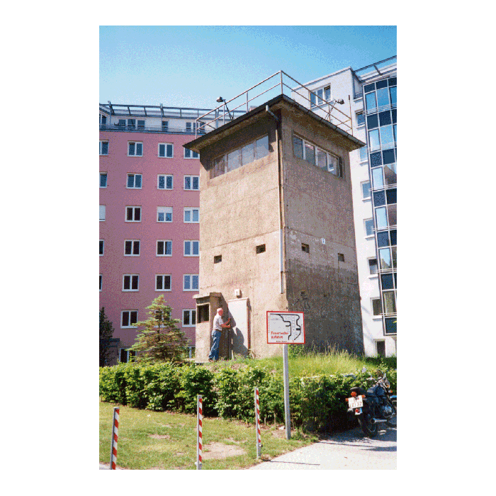 Wall control tower, now surrounded by new apartment buildings, Berlin, 2000. (Anna Funder)