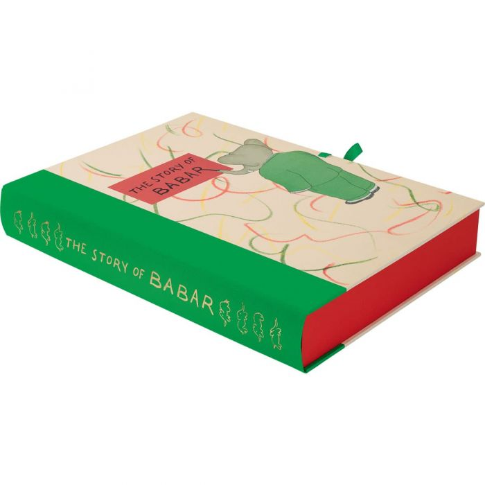 The presentation box tied with green grosgrain ribbon