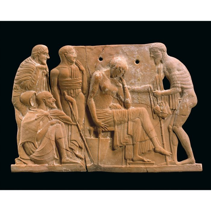 Odysseus returning to Penelope. Terracotta plaque, c.460–450 BCE. Metropolitan Museum of Art, New York. Metropolitan Museum of Art, New York. Fletcher Fund, 1930