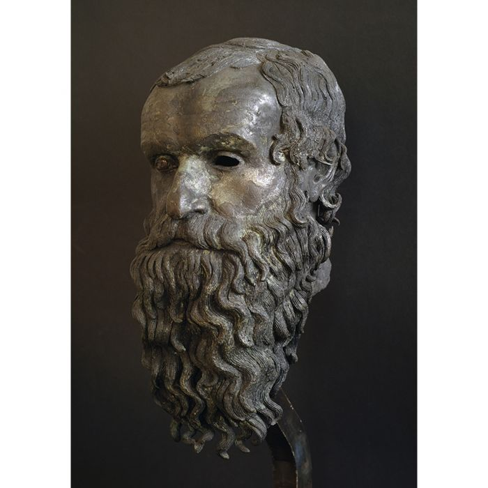 Philosopher's head, perhaps Pythagoras of Samos. Bronze, fifth  century BCE. Found in the sea in front of the beach at Porticello, near Villa San Giovanni, Sicily. National Museum of Magna. Grecia, Reggio Calabria.DeAgostini/Diomedia