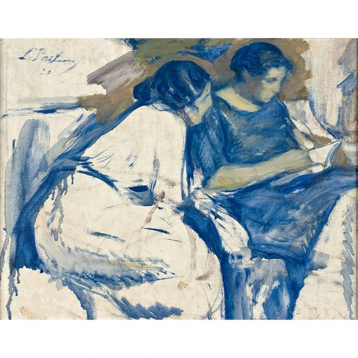 Lydia and Josephine Pasternak reading. Oil on primed canvas, 1920. (Private collection)