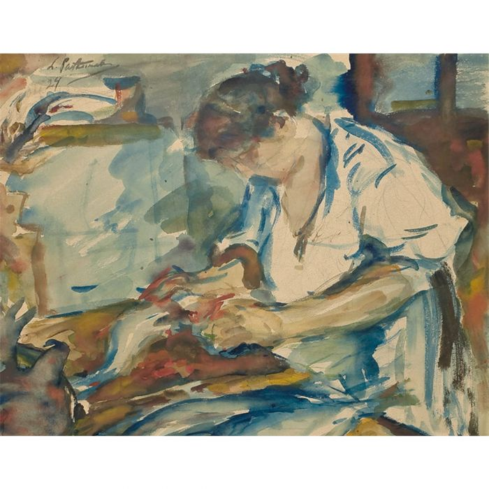 Lydia Pasternak cleaning fish. Watercolour and chalk over pencil, 1924. (Private collection)