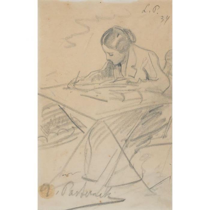 Josephine Pasternak writing at a folding table. Charcoal, Munich, 1924