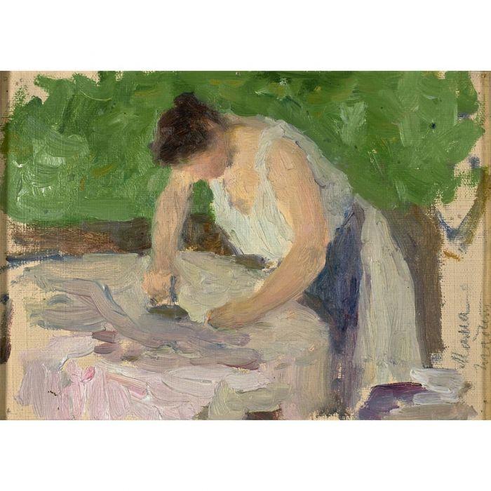 Rosalia Pasternak ironing. Oil, c. 1897