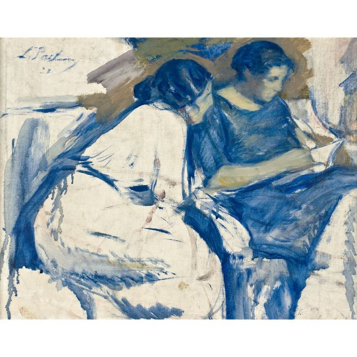 Lydia and Josephine Pasternak reading. Oil on primed canvas, 1920