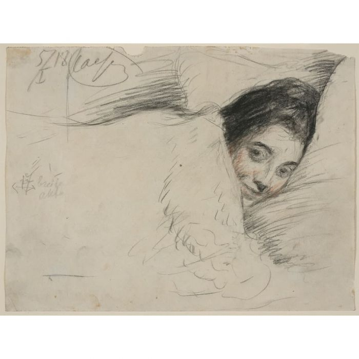 Josephine Pasternak in bed. Charcoal, 1918