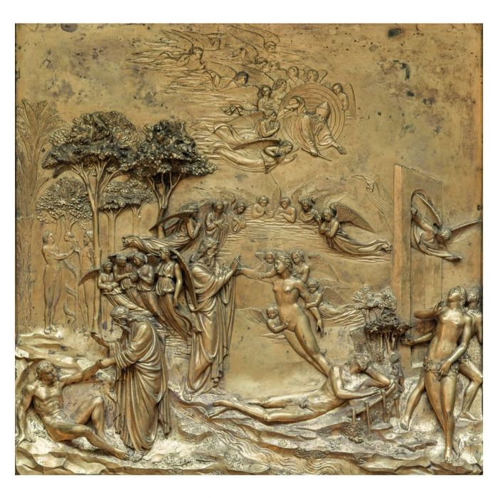 The creation of Adam and Eve and their expulsion from Paradise. Gilded bronze panel by Lorenzo Ghiberti, Florence, 1425–52. (Wieslaw Jarek/Alamy Stock Photo)