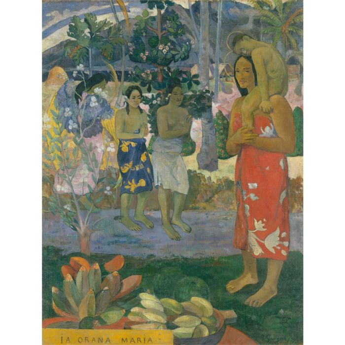 La Orana Maria (Hail Mary). Oil painting on canvas by Paul Gauguin, 1891. (The Metropolitan Museum of Art)