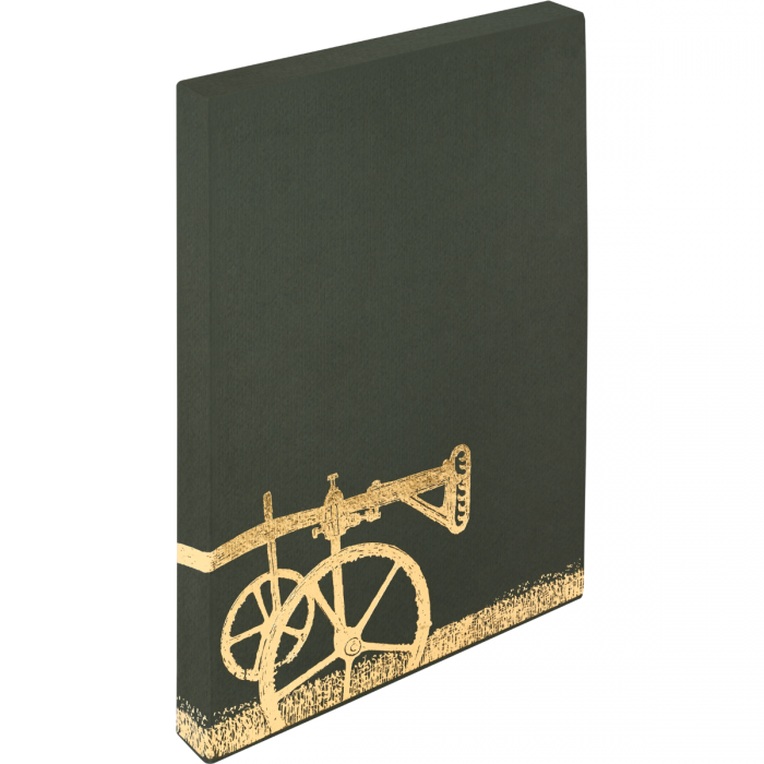 Slipcase back showing plough design by David Gentleman blocked in gold