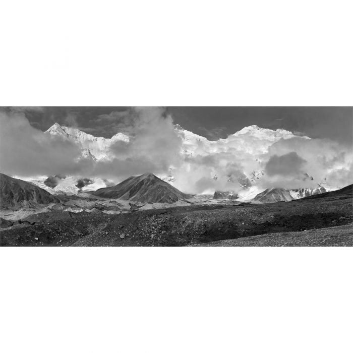 Panorama taken from the Kama Valley. Everest is the peak on the right, 1921 Photo: George Mallory © RGS-IBG