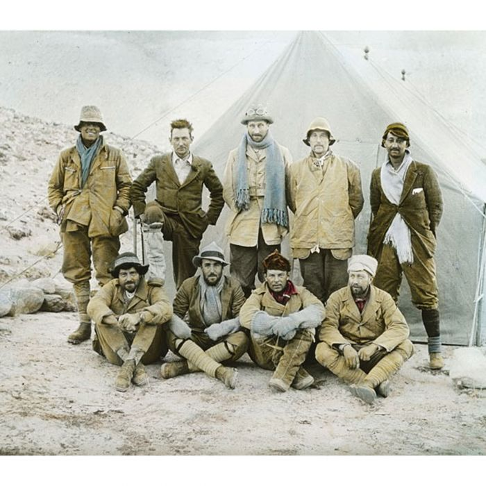 Members of the 1924 expedition, including Irvine & Mallory, back row first & second from the left Photo: John Noel © RGS-IBG
