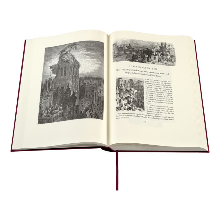 The opening of Chapter 17 of <em> Gargantua </em> showing one of the 61 full-page engraved illustrations and two of the 658 smaller pieces