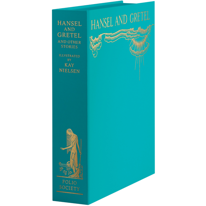 The solander box bound in turquoise cloth specially made to match the screen printing on the facsimile