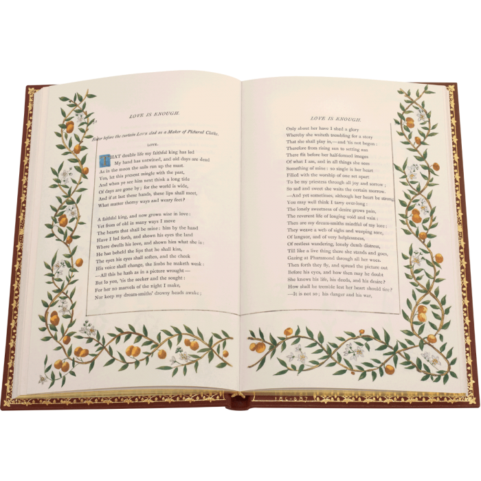 One of Love's speeches beautifully bordered with foliage, fruits and flowers (pages 52 – 53)