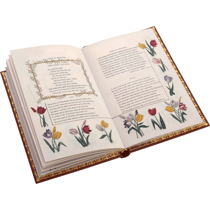 A foliage border for The Music with tulips for speeches by Love and Azalais (pages 84 – 85)