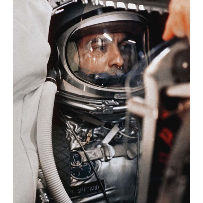 In the tiny cockpit of his Mercury capsule, Alan Shepard prepares to become the first American in space on May 5, 1961. Courtesy NASA and Andrew Chaikin