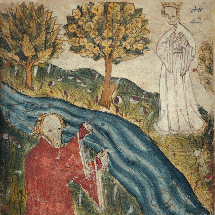 The dreamer and the heavenly maiden (Pearl; fo. 38)