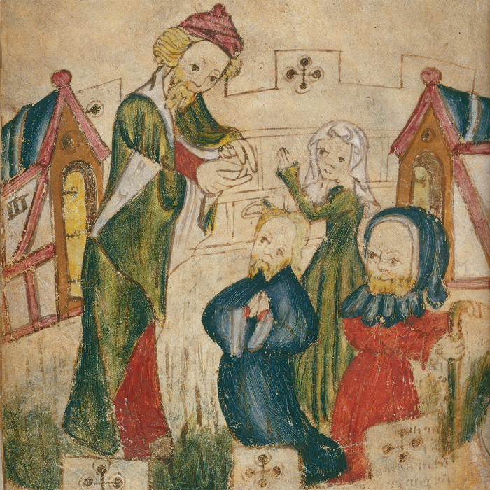 Jonah preaches to the Ninevites (Patience; fo. 82v)