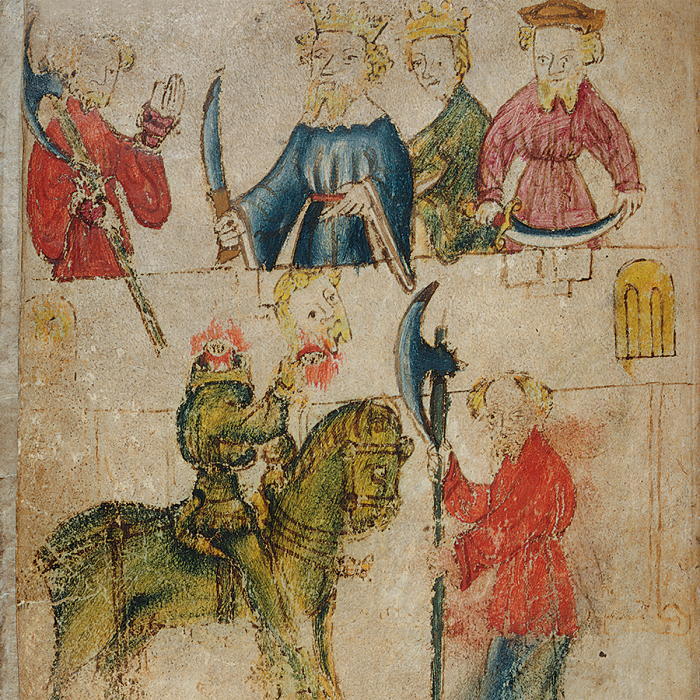 Arthur agrees that Gawain should take up the Green Knight's challenge; the Green Knight brandishes his severed head before Gawain (Sir Gawain and the Green Knight; fo. 90v)