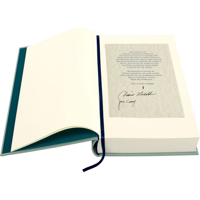 The letterpress-printed limitation tip signed by Diana Gabaldon and June Carey