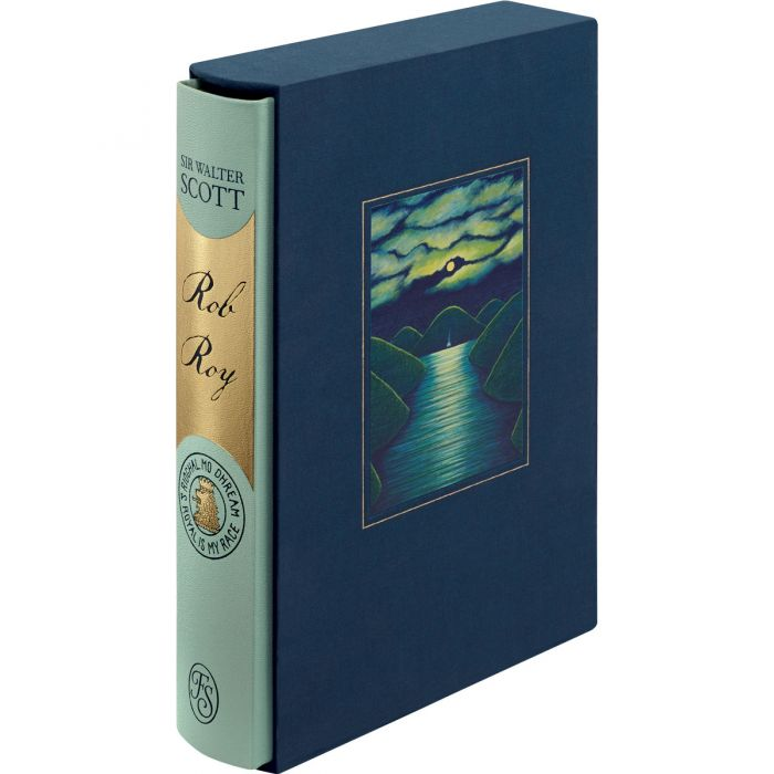The cloth-covered slipcase inset with an illustration by June Carey