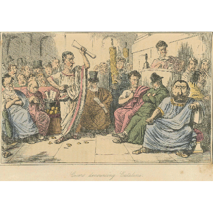 'Cicero Denounces Catiline'. Illustration (detail) c.1850 from The Comic History of Rome, 1852, by Bradbury and Evans. (Photo © Posner Library/Carnegie Mellon)