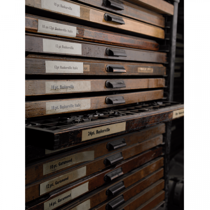 A tray of metal type for letterpress printing