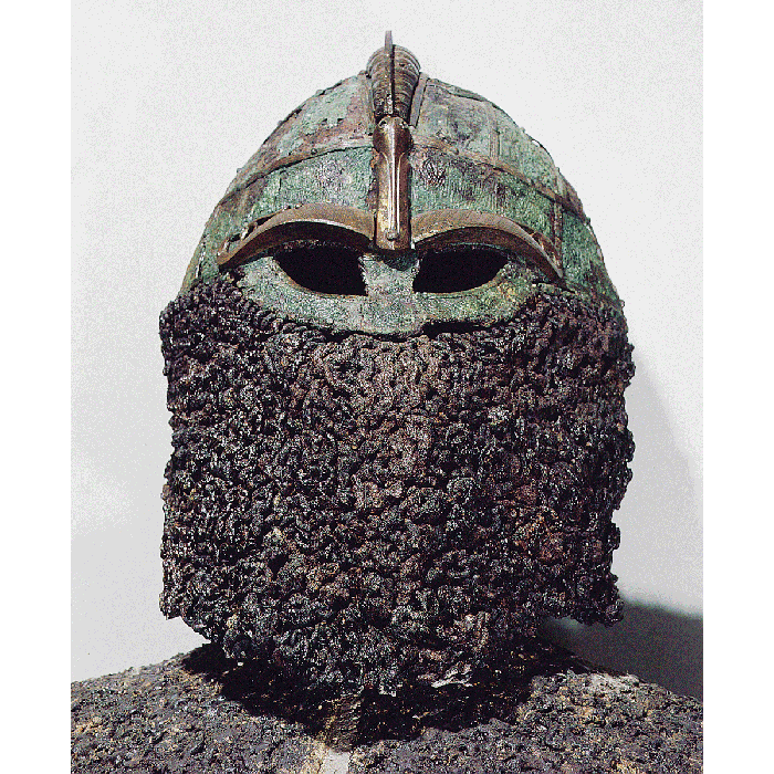 Pre-Viking iron helmet from a Vendel boat grave, Sweden, 7th century. (Heritage Image Partnership Ltd/Alamy Stock Photo)