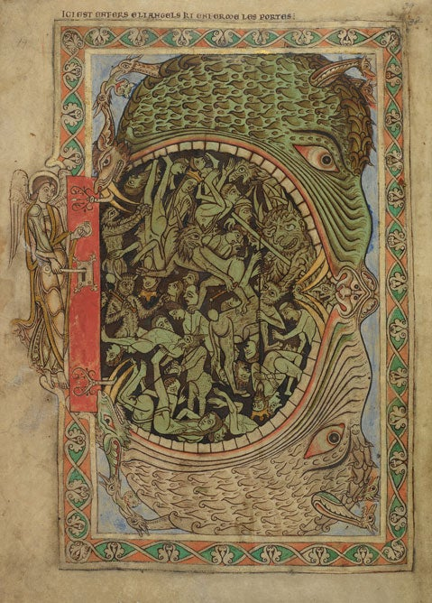 'The angel locks the damned in Hell' illustration from The Winchester Psalter