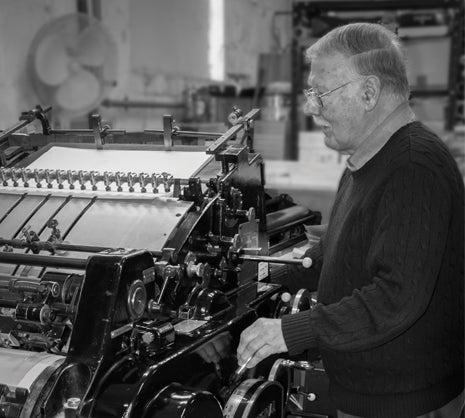 Stan Lane with his Heidelberg cylinder press